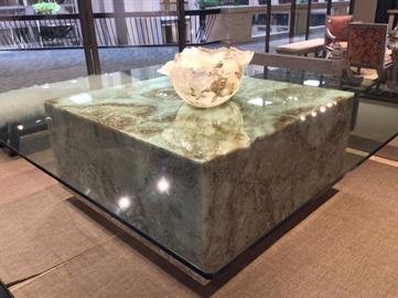 "60 x 60 in onyx dining table with 98"" x 98"" glass top lighting built in so you can see the details of the natural stone lit up"