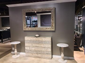 Onyx Console, mirror and end tables. each piece raw, unique, gorgeous!