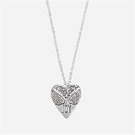Silver tone heart on chain