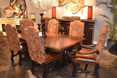 2-1-041-84-Sienna Dining Table-84 x 48 x 31, 2-2-062-Bordeaux Side Chair, 2-2-063-Bordeaux Arm Chair.