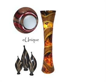 Unique lamps, mirrors and decorative accessories featuring inlaid shell and natural fibers and grasses.