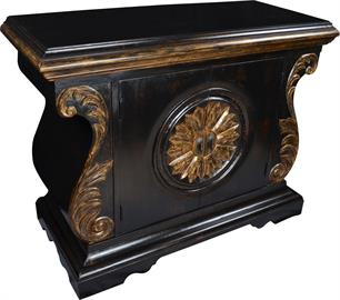 Shown in finish 05/Antique Black with gold accents.  Ventura is a great entry or accent piece. Specifications:  52x22x36H.