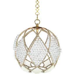 "Beaded Sphere Chandelier.  Natural Hemp Accent. Brass or Nickel Hardware. Type A bulb, 75 Watt Max. 16"" W x 16"" D x 18"" H or 20"" W x 20"" D x 22"" H. Custom bead options available. Clear Resin and Milk beads pictured."