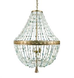 "Iron Beaded Chandelier. Weathered Gold, Stained Gold Leaf or Earth Silver Finish. 4 Type B Bulbs, 60 Watt Max. 30"" W x 30"" D x 40"" H. Iron Beaded Chandelier Weathered Gold, Stained Gold Leaf or Earth Silver Finish 4 Type B Bulbs, 60 Watt Max 30"" W x 30"" D x 40"" H.Iron Beaded Chandelier Weathered Gold, Stained Gold Leaf or Earth Silver Finish 4 Type B Bulbs, 60 Watt Max 30"" W x 30"" D x 40"" H. Bead can be customized. Jerusalem Agate bead and Antique Silver finish pictured."