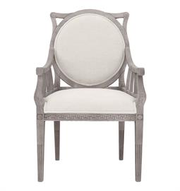 "French oak arm chair with weathered grey finish and heavy white linen upholstery. 24"" W x 20"" D x 39"" H"