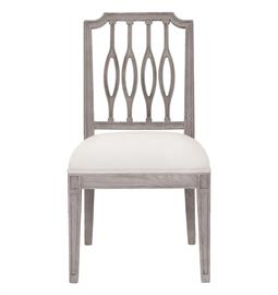 "French oak dining chair with weathered grey finish and heavy white linen upholstery. 20"" W x 24"" D x 38"" H"