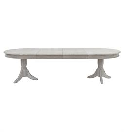 "Oval french oak table with leaves in weathered grey finish. 72"" to 120"" W x 43"" D x 30"" H."