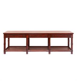"Large console table with antique cherry finish. 94"" W x 24"" D x 30"" H"