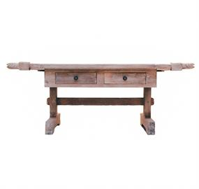 "Primitive carved coffee table with weathered white finish, fish head accents and wrought iron hardware.53"" W x 31"" D x 22"" H"