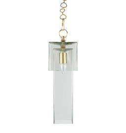 "Clear Glass Pendant with Brass or Nickel Hardware. 6"" W x 6"" D x 20"" H. Type A blub, 75 Watt Max. Ro Sham Beaux Chain."