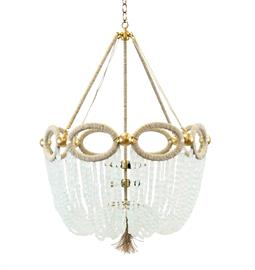 "Beaded Chandelier with Oval Accent. Brass or Nickel Hardware. Natural Hemp Accent. 4 Type B bulbs, 60 Watt Max. 26"" W x 26"" D x 36"" H. 36"" of chain and canopy included. Hemp color and bead option can be customized. Coke Bottle Recycled Glass bead pictured."