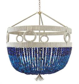 "Beaded Chandelier with Circular Accents. 4 Type B bulbs, 60 Watt Max. Natural Hemp Accent. 30"" W x 30"" D x 38"" H or 24"" W x 24"" D x 36"" H. 36"" of chain and canopy included. Hemp color and Bead option can be customized. Navy Agate bead pictured."