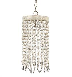 "Beaded Pendant. Brass or Nickel Hardware. Natural Hemp. Crossbar. 6"" W x 6"" D x 16"" H,  8"" W x 8"" D x 16"" H or 10"" W x 10"" D x 16"" H. 36"" of chain and canopy available. Hemp color and bead option can be customized. Silver Mirrored Crystal Nugget bead pictured."