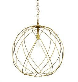 "Metal Sphere with Gold Finish. Type A blub, 75 Watt Max.  Brass Hardware. 16"" W x 16"" D x 18"" H or 20"" W x 20"" D x 22"" H. 36"" of chain and canopy included. Ro Sham Beaux Chain. Gail is available in Nickel for an upcharge."