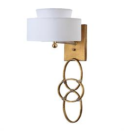 "Gold or Silver Leaf Sconce. Brass or Nickel Hardware. Type A bulb, 75 Watt Max. 9"" W x 9"" D x 24"" H. Two Tiered Snow Linen or Two Tiered Black Linen with Silver Interior Shade."