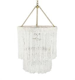 "Chip Quartz Beaded Chandelier. Brass or Nickel Hardware. Natural Hemp Accent. 4 Type B bulbs, 60 Watt Max. 24"" W x 24"" D x 42"" H. 36"" of chain and canopy included. Three Arms. Comes with Pink, Turquoise, Aquamarine, Snow or Clear Chip Quartz. Clear Chip Quartz bead pictured."