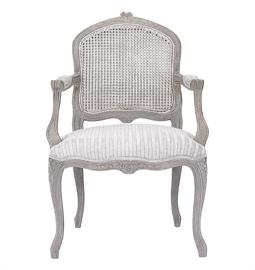 "French style arm chair with herringbone pattern upholstered seat and back. 25"" W x 26"" D x 38"" H"