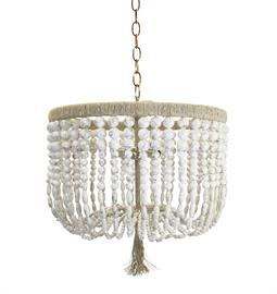"Beaded Chandelier. Brass or Nickel Hardware. Natural Hemp Accent. 2 Type B bulbs, 60 Watt Max. Three Arms |18"" W x 18"" D x 30"" H or  Crossbar  