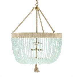 "Beaded Chandelier. Brass or Nickel Hardware. Natural Hemp Accent. 4 Type B bulbs, 60 Watt Max. 24"" W x 24"" D x 34"" H. Three Arms. 36"" of Chain and Canopy Included. Hemp color and bead options can be customized. Coke Bottle bead pictured."