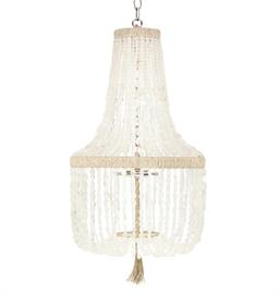 "Beaded Chandelier. Brass or Nickel Hardware. Natural Hemp Accent. 2 Type B bulbs, 60 Watt Max. 12"" W x 12"" D x 26"" H or 18"" W x 18"" D x 32"" H. 36"" of Chain and Canopy Included. Hemp color and bead option can be customized. Ice Recycled Glass bead pictured."