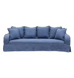 "European style slip covered sofa with white or royal blue upholstery and decorative stitching. 98"" W x 40"" D x 36"" H"