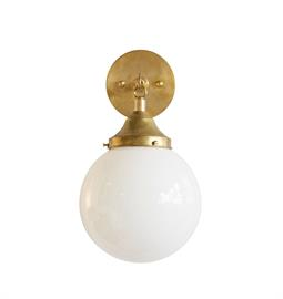 "Clear or Opal Glass Globe Wall Sconce. Brass Hardware. Type B bulb, 60 Watt Max. 6"" W x 9"" D x 11"" H or 8"" W x 10"" D x 14"" H."
