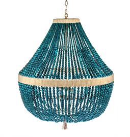 "Beaded Chandelier.  Brass or Nickel Hardware. Natural Hemp Accent. 4 Type B bulbs, 60 Watt Max. 30"" W x 30"" D x 40"" H. 36"" of Chain and Canopy Included. Hemp color and bead option can be customized. Mediterranean Jade bead pictured."