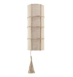 "Burlap or Bleached Burlap Sconce with Natural Hemp Accent. 2 Type A bulbs, 25 Watt Max LED Recommended. 5"" W x 5"" D x 14"" H"