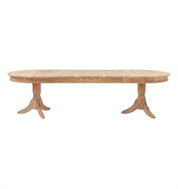 "Oval french oak table with leaves in natural finish. 72"" to 120"" W x 43"" D x 30"" H"