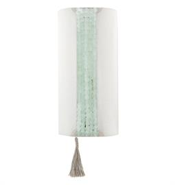 "Fabric Sconce with Beaded Accent. 2 Type A Bulbs, 75 Watt Max. Snow Linen or Sugar Linen fabric. 7"" W x 6"" D x 14"" H. Bead option customization. Coke Bottle bead and Snow Linen fabric pictured."