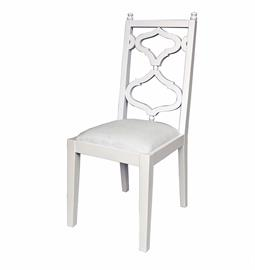 "Hardwood dining chair painted in satin dove white with decorative back and upholstered in a heavy off-white linen. 18"" W x 23"" D x 42"" H."