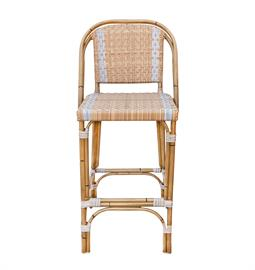 "Honey wicker synthetic rattan bar stool with bamboo frame finish. Powder coated aluminum frame. 21"" D x 45"" H."