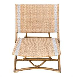 "Honey wicker synthetic rattan beach chair with bamboo frame finish. Powder coated aluminum frame. 24"" D x 32"" H."