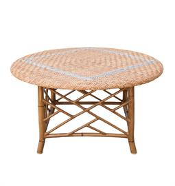 "Honey wicker synthetic rattan coffee table with with bamboo frame finish. Powder coated aluminum frame. 30"" W x 30"" D x 18"" H."