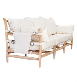 "Primitive three seater sofa with natural hardwood frame, white PU leather upholstery and nickel buckle accents. 86"" W x 38"" D x 38"" H."