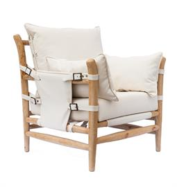"Primitive lounge chair with natural hardwood frame, white PU leather upholstery and nickel buckle accents. 36"" W x 34"" D x 38"" H."