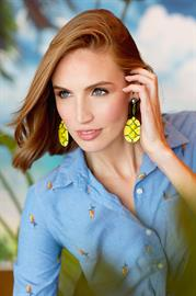 Handmade, pineapple-shaped drop earring. Features colorful woven detailing and a shiny, gold-tone post.