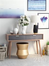 With its mid-century aesthetic, the Liberty City Console Table has clean lines and warm walnut tones. It has beautiful drawers with rails and stainless steel handles. It is a great piece of design.