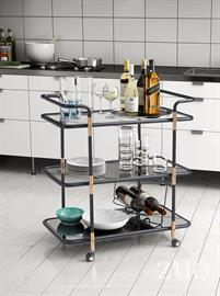 Simple elegance meets functionality, as the Secret serving cart features  black tempered glass to bottom of three shelves, ice bucket rack and overall metal frame is accented by beautiful Rose Gold finishes to black tubular frame. Sturdy design offers slim profile throughout and easy gliding locking casters. Perfect accent for any room in your home, office or commercial space.