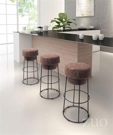 Pop barstool will add a unique design statement to your bar or bar tables as the backless design features a plush bottle cap shaped seat and is supported by sturdy yet slim round black steel base. Fabric to plush seat is upholstered in faux leatherette with a distressed texture.