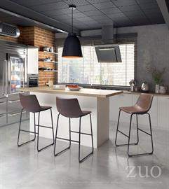 The Smart Bar Chair offers a sculpted seat/ back design and is upholstered in soft smooth leatherette fabric in vintage espresso color. Simple metal base features a slim profile, comfortable foot rest and sturdy cross-bar for added stability accented and finished in industrial gray. Sold separately collection includes dining, bar and counter chairs.