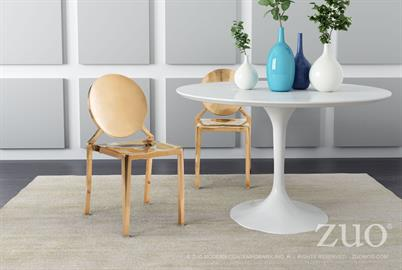The Wilco Collection dining offers Mid-century Modern perfection as the sturdy Tulip shaped design and bevel rounded edge create a striking profile to any design. Paired with our Eclipse Gold dining chairs for an elegant look.