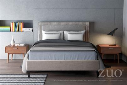 Modernity Queen Bed is a Mid-Century Modern delight; as upholstered bed is supported by slim angled legs and upholstered front and back in soft Dove Grey Poly-linen accented button tufted details to rectangular slim profile. European slat system needs mattress only for ultimate comfort. Collection includes Queen, Eking beds or Full Headboard only.