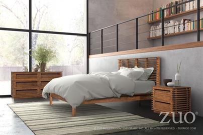 Scandinavian in design the Linea Bedroom & Casegoods Collection feature a narrow slim strips of Solid Fir Wood, creating a Modern open airy design. Whether installing one piece or a full set you will create a bold elegant design statement. Finished in a rich walnut finish.