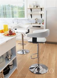 Wrap yourself in modern comfort. This luxurious bar chair in white faux leather has a curved cushioned back with contrasting plywood side supports that make it as sculptural as it is functional. Easy-to-use mechanism will raise or lower the seat to accommodate bar or counter height. Round steel base and footrest keep you firmly grounded. Also available in black faux leather.