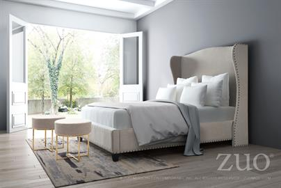 Enlightenment Queen Bed is elegantly upholstered in Beige Poly-linen fabric featuring bronze nail head details to wing-back styling and long side rails for added sophistication. European slat system needs mattress only for ultimate comfort. The collection includes a Queen size and a King size bed.