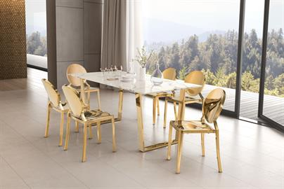 Whether you are entertaining or dining solo- The Atlas Dining table is undeniably Modern with a sophisticated elegance;  featuring a sturdy geometric style base in stainless steel finish in bright Gold; supporting a stunning faux marble rectangular top.