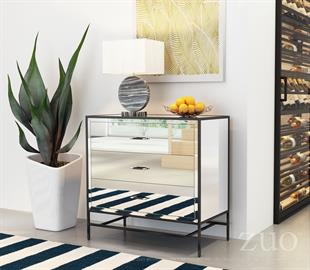 Sophisticated and elegant the Upton Cabinet features three easy to open drawers, a Classic-Modern mirrored design; encased in slim yet sturdy black frame. The perfect addition to living or bedrooms for a chic design statement.