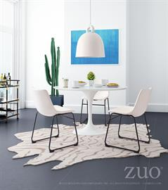The Wilco table echoes some of the great Mid-century design with its tulip base and bevel edge round top. Its top is glossy painted MDF and its base is glossy coated fiberglass.