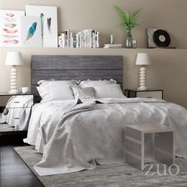 Simple sophistication. This urban chic headboard is stained in light gray allowing the warmth of the natural wood grain to show through. The linear design varies in depth giving it dimension and modern appeal. Available in both Queen and King sizes.